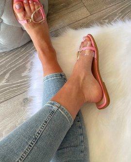 Ruth Perspex Detail Sliders in Pink