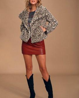 S'il Vous Plait Beige Leopard Print Faux Fur Jacket