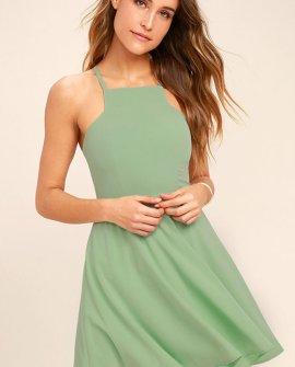Sage Green Call to Charms Skater Dress