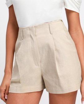 Saige Beige High-Waisted Shorts