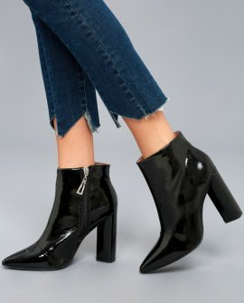 Saige Black Patent Ankle Booties