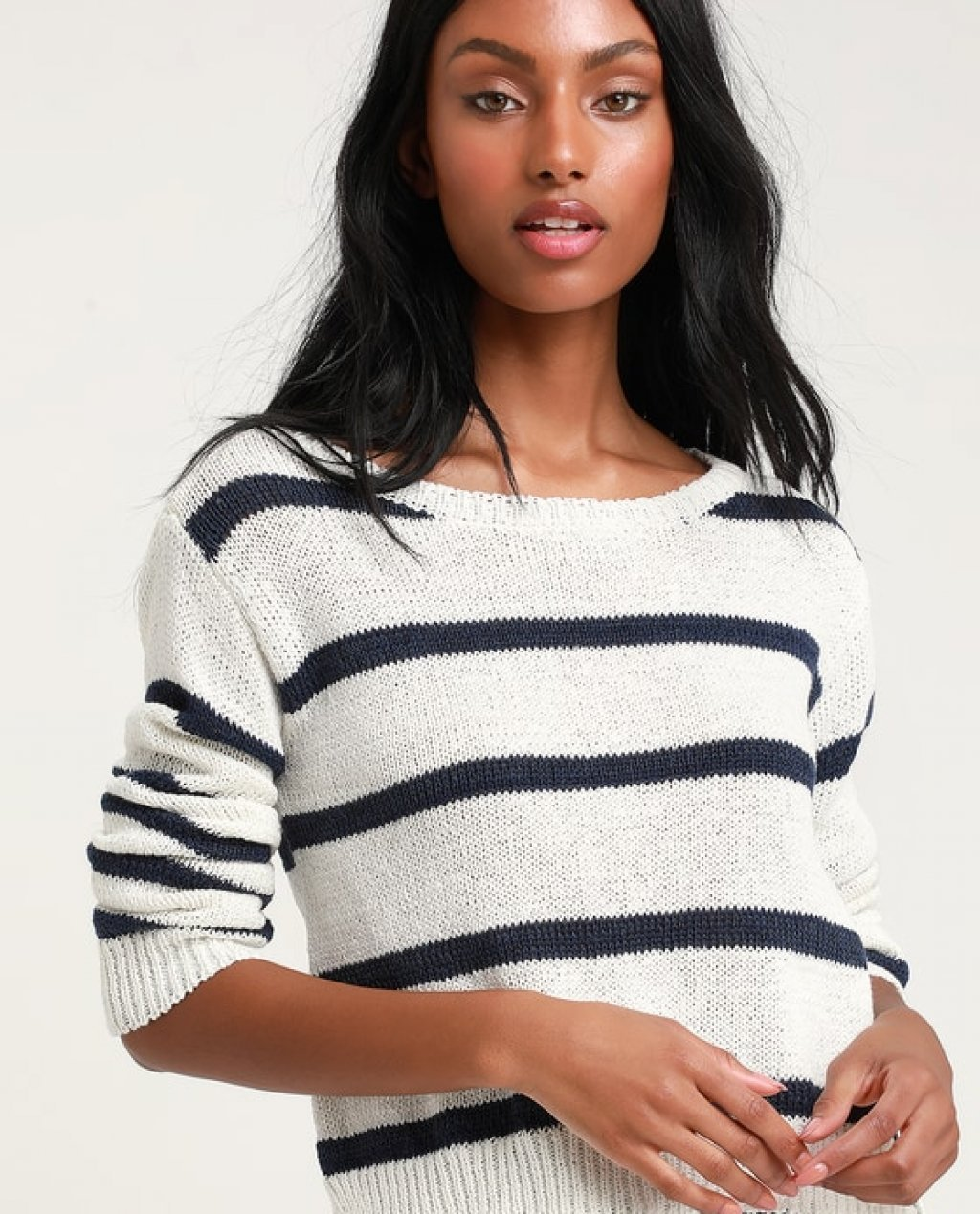 Sail Away Blue and White Striped Cropped Sweater