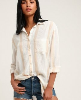 Sailing Sundays Beige Multi Striped Button-Up Top