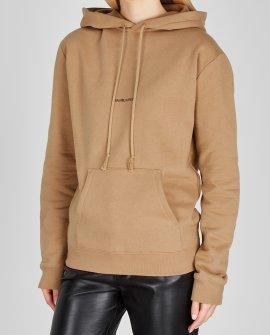 Saint Laurent Camel logo hooded cotton sweatshirt