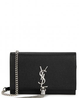 Saint Laurent Kate black leather wallet-on-chain