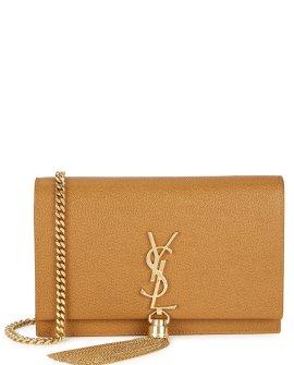 Saint Laurent Kate caramel leather wallet-on-chain