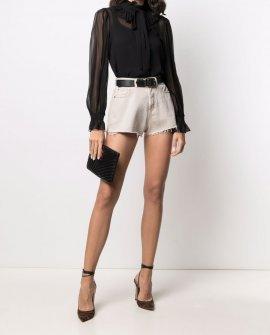 Saint Laurent denim raw-cut shorts