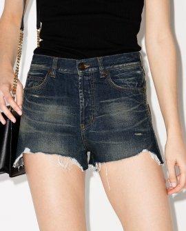 Saint Laurent distressed washed denim shorts