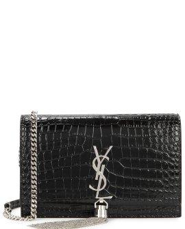 Saint Laurent kate black crocodile-effect wallet-on-chain