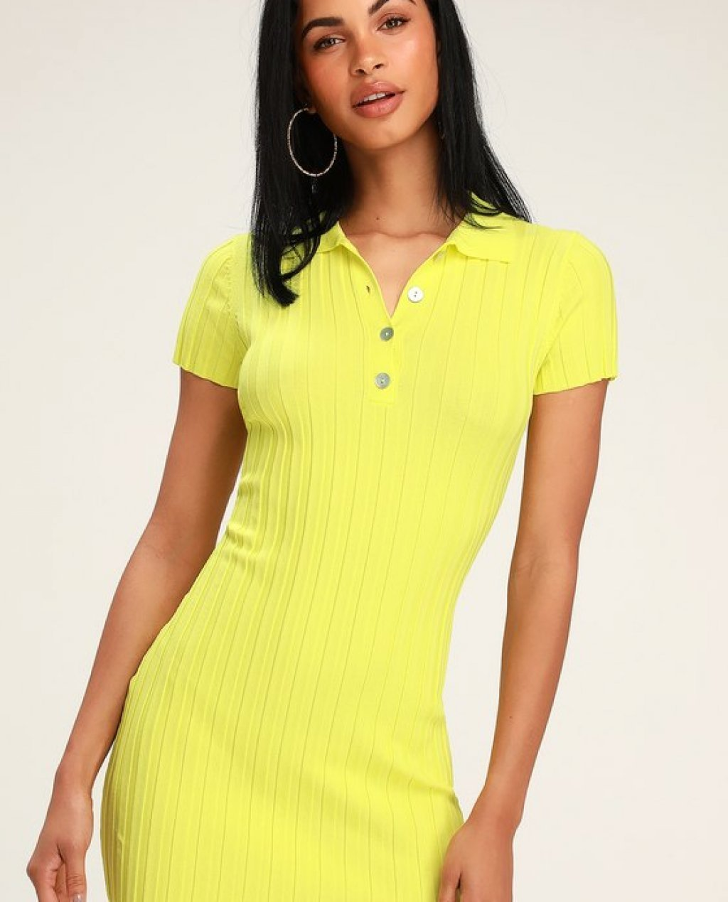 Salty Hair Dont Care Neon Green Short Sleeve Bodycon Dress