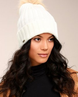San Diego Hat Co. Warmhearted White Knit Beanie