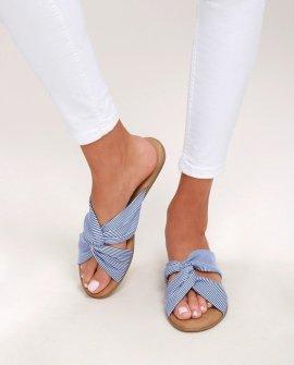 Santana Blue Striped Slide Sandal Heels