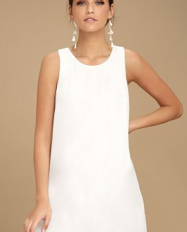 Sassy Sweetheart White Shift Dress