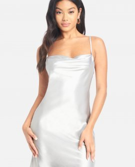 Satin Cowl Neck Slip Dress