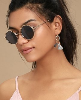 Saturn Gold Round Sunglasses