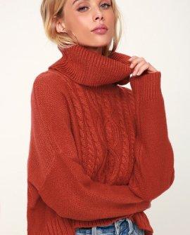 Say Anything Burnt Orange Turtleneck Sweater