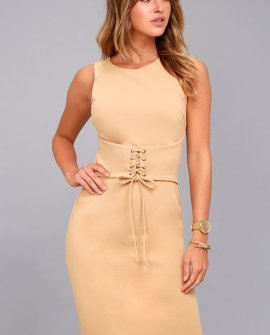 Say So Nude Lace-Up Bodycon Midi Dress