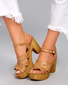 Sbicca Bianco Tan Leather Platform Heels