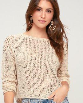 Sea Ya Soon Beige Knit Sweater