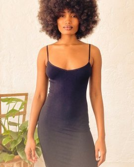 Seamless Mini Black Slip Dress
