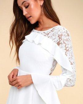 Secret Kiss White Lace Long Sleeve Dress