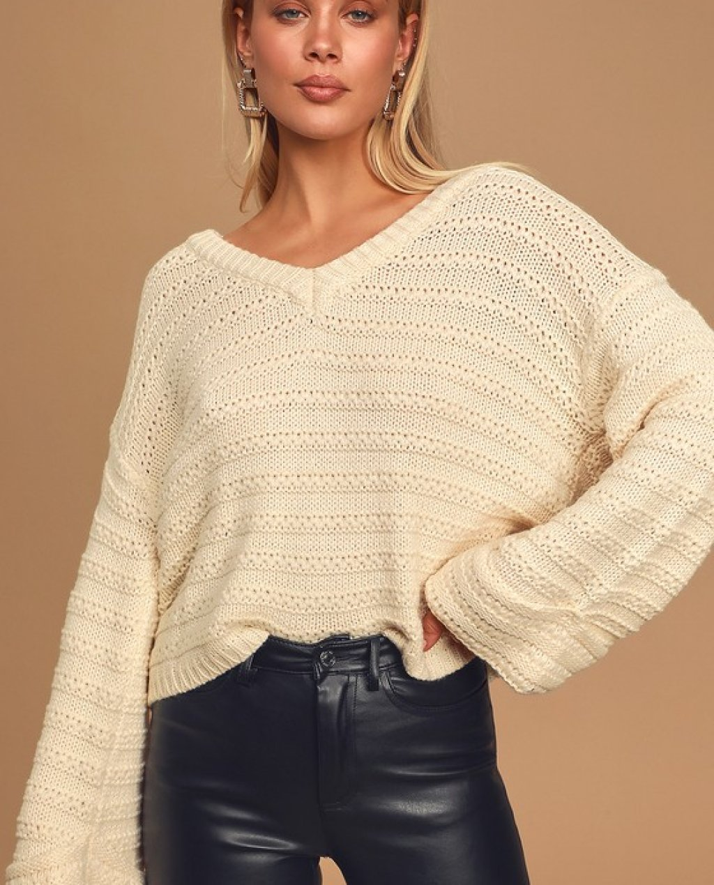 See Me Again Cream Ribbed Knit Sweater