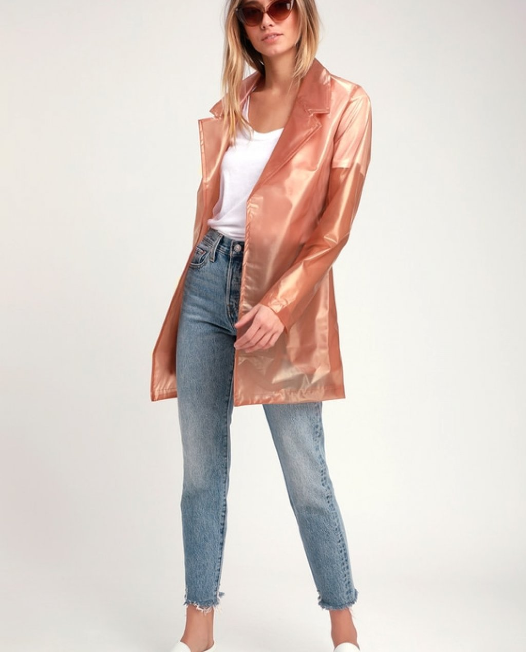 See Me Now Nude Vinyl Trench Coat