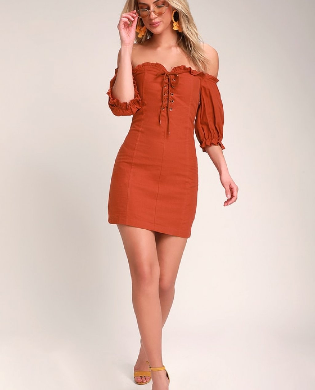 See Ya Later Terra Cotta Off-the-Shoulder Lace-Up Dress