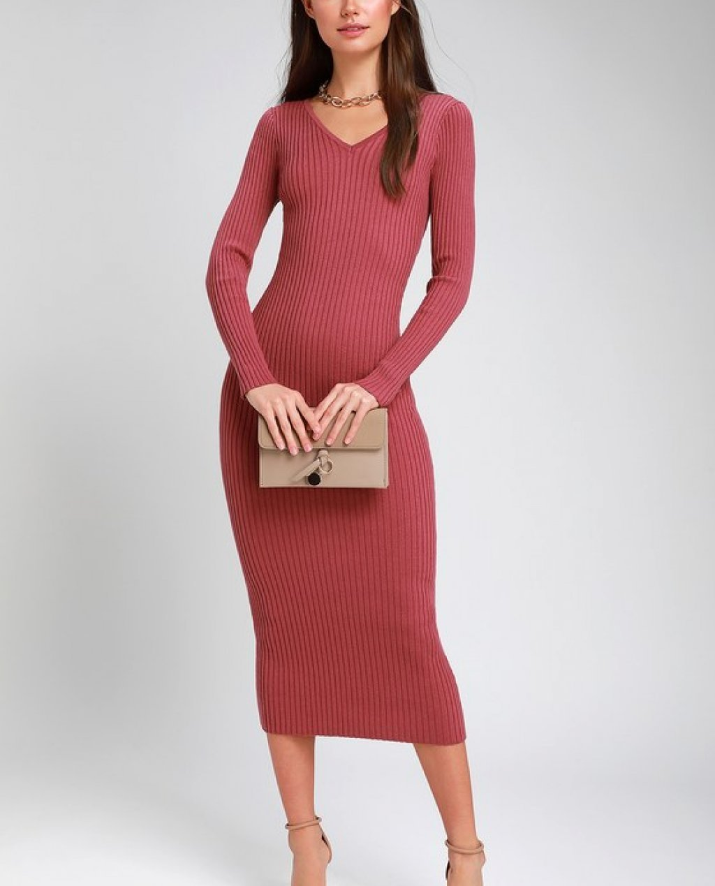 See Your Smile Rusty Rose Ribbed Bodycon Midi Dress