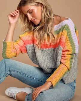 See the Rainbow Grey Rainbow Striped Sweater