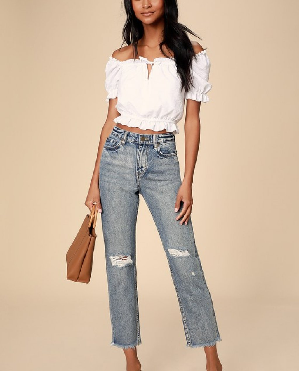 Selena Medium Wash High-Waisted Distressed Jeans