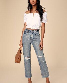 Selena Medium Wash High-Waisted Distressed Jeans