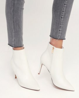 Selenah White Pointed Toe Ankle Booties