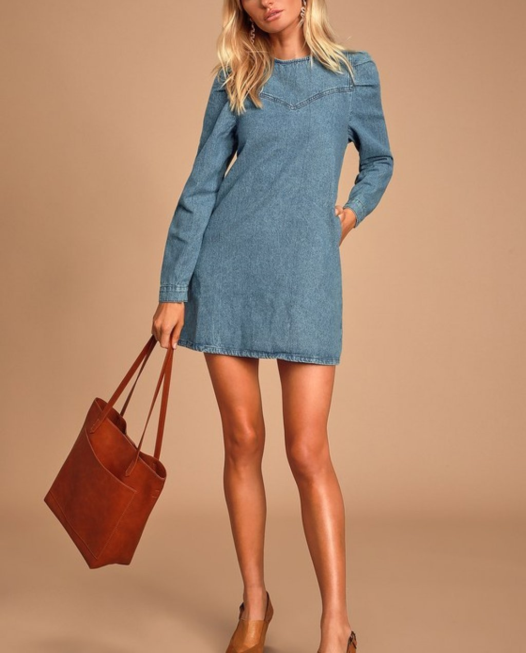 Self Control Medium Wash Denim Mini Dress