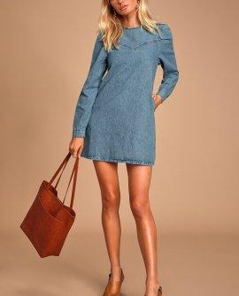 Self Control Medium Wash Denim Mini Dress
