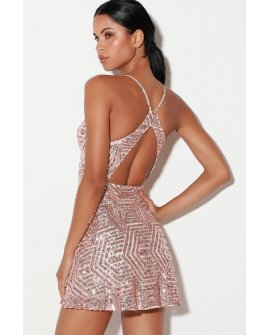 Serenade in the Night Rose Gold Sequin Skater Dress