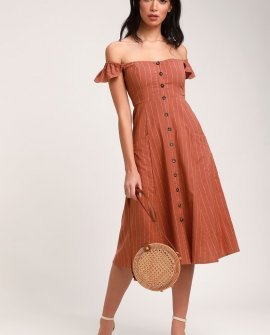 Shady Spot Rusty Rose Striped Off-the-Shoulder Midi Dress