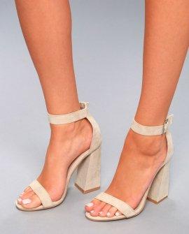 Shandi Nude Suede Ankle Strap Heels