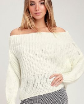 Shapiro Ivory Eyelash Knit Off-the-Shoulder Sweater Top