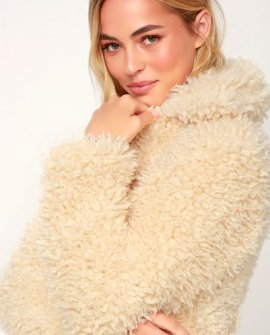 Shay Cream Faux Fur Bomber Jacket