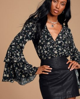 She's Dainty Black Floral Print Long Sleeve Bodysuit