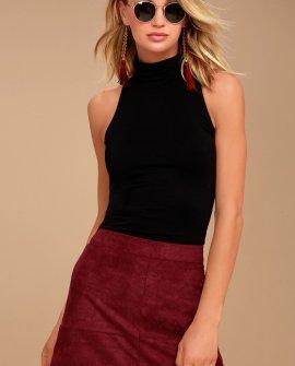 Shenandoah Burgundy Suede Mini Skirt