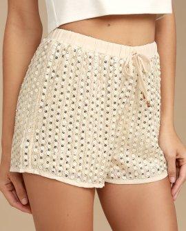 Shimmer, Shimmer, Shake Beige Sequin Shorts