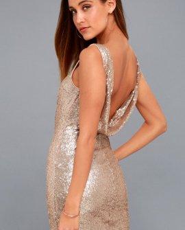 Shine Time Rose Gold Sequin Dress