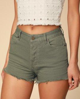 Shoreline Sage Green Cutoff Denim Shorts