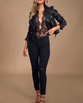 Show Off Black Sheer Lace Halter Bodysuit