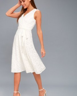 Siana White Lace Wrap Midi Dress