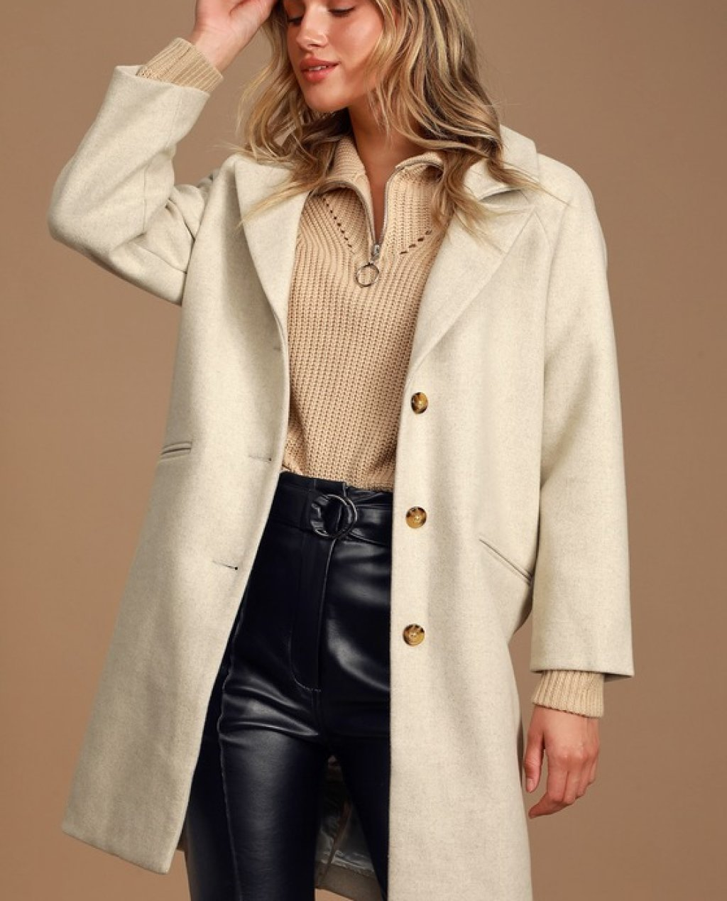 Siena Beige Long Wool Coat