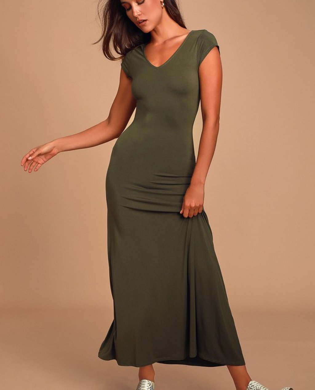 Siena Olive Green Short Sleeve Maxi Dress