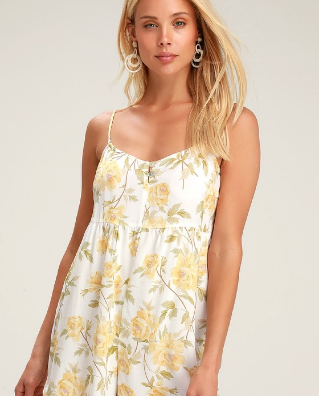 Sienna White and Yellow Floral Print Romper